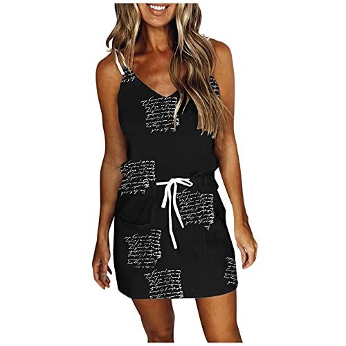 OPAKY Vestido de verano para mujer con estampado de plumas, cuello en V suelto, con cordón, espalda descubierta, para el tiempo libre. Negro L