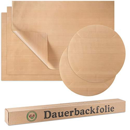 Greenster Dauerbackfolie [5er Set] Premium XXL Backfolie wiederverwendbar I Universell einsetzbares Backpapier aus Teflon I Hitzebeständig, antihaftbeschichtet und spülmaschinenfest