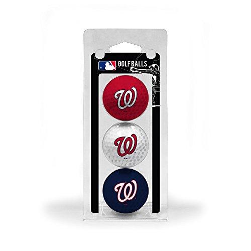 Team Golf MLB Washington Nationals Regulation Size Golf Balls, 3 Pack, Full Color Durable Team Imprint