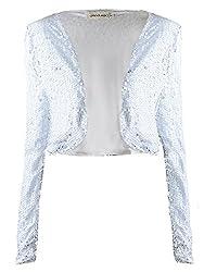 White Sequin Long Sleeve Cropped Blazer Bolero Shrug