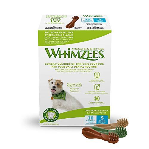 WHIMZEES Natürliche Getreidefreie Zahnpflegesnacks, Kaustangen für Hunde, Monats-Packung, Zahnbürste, Gr. S, 30 Stück