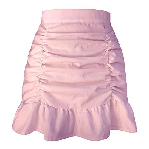 Pure Color Plissee GekräUselter ReißVerschlussrock Hohe Taille Tasche HüFte Fischschwanzrock