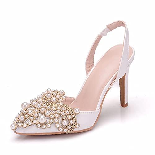 YIZHIYA Zapatos de Novia de Mujer,9CM Sandalias Puntiagudas,Zapatos de salón Elegantes con...