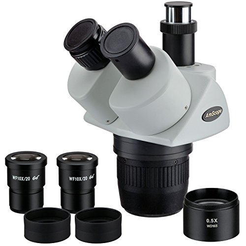 AmScope SW24TX Trinocular Stereo Microscope Head, WH10x Eyepieces, 10X/20X/40X Magnification, 2X/4X Objective, Includes 0.5x Barlow Lens