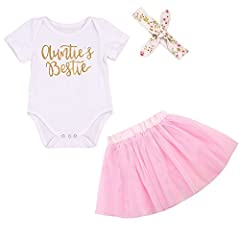 """""""Auntie's Bestie"""" letters print cute baby girl summer clothing set 0-18 months Material: Cotton bodysuit+ Tulle skirt, long sleeve or short sleeve clothes great for baby girl gift What You Get: 1x Romper+1x Skirt+1x Headband, 3 Piece Outfits Set Summ..."""