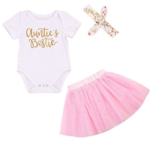 BULINGNA Newborn Baby Girl Outfit Auntie Bodysuit Romper with Headband+Pink Tutu Skirt …