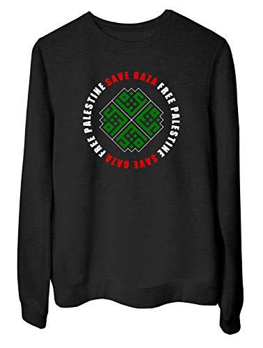 T-Shirtshock Rundhals-Sweatshirt fur Frau Schwarz TM0581 Save Gaza Free Palestine Gaza Edited