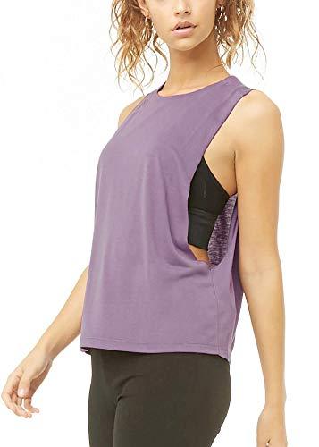 Mippo - Camiseta de entrenamiento para mujer, ajuste holgado para yoga, muscular, ropa de gimnasio, Suave, S, Uva