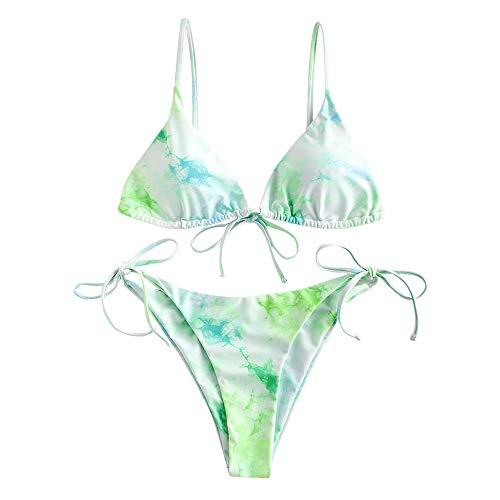 Zaful - Costume da bagno da donna, tre pezzi, sexy, sgambato, con lacci Vert-2 Pièces M