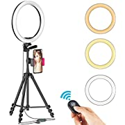 """12"""" Selfie Ring Light with Tripod Stand & Cellphone Holder for Live Stream/Makeup, Dimmable Beauty Ringlight for YouTube Video/Photography Compatible with iPhone Android, Color Temperature 3000K-6000K"""