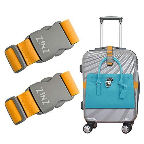 2 Piezas de Correas de Equipaje Cinturón de Maletas, ZINZ Correas de Bolsa Pesadas de Alta Elasticidad Bungees Accesorios de Viaje Ajustables con Hebillas, Naranja