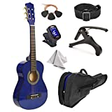 30' Wood Guitar with Case and Accessories for Kids/Girls/Boys/Beginners (Blue)