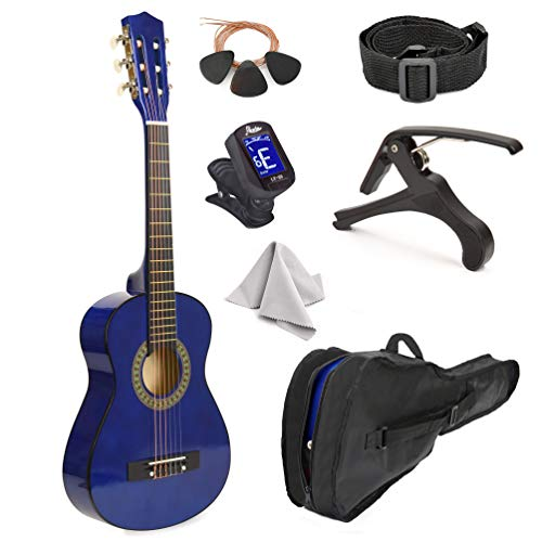 38' Wood Guitar With Case and Accessories for Kids/Boys/Girls/Teens/Beginners (38' Blue)