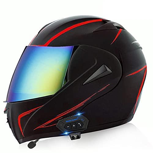 Casco de Moto Modular Bluetooth Integrado ECE/DOT Homologado con un Micrófono Incorporado Anti Niebla Visera Doble Adultos Hombres Mujeres Cascos Moto 5 ventilaciones(Size:M(57-58CM),Color:mi)