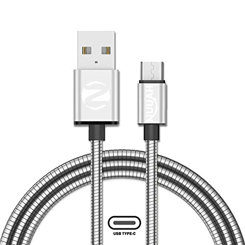 NUUAH Metallic Metal Braided Made in India Fast Charging USB Type C Cable for Samsung Galaxy S10e S10 S9 S8 Plus S10+, Note 10 Note 9 Note 8,S20,M31s,M40, Realme X3, LG, Pixel 2 XL,3.3 Feet (1 Meter)