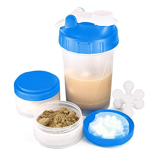 16 OZ Workout Protein Shaker Bottle with Mixer Ball and Powder Storage Jars for Indoor and Outdoor Fitness. 100% BPA Free, Non Toxic and Leak Proof Sports Shaker Cup. (BLUE)