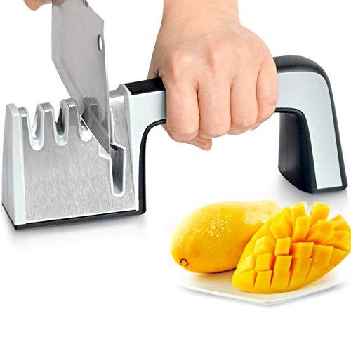 Afilador de cuchillos de cocina, profesional y manual de 3 etapas de afilado diseñado