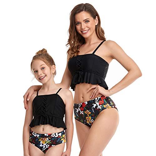 2Pcs Baby Girl Swimsuit High Waisted Bathing Suit Halter Neck Swimwear Women Bikini Sets for Family (Black+Flower, Girl 8-10 T)