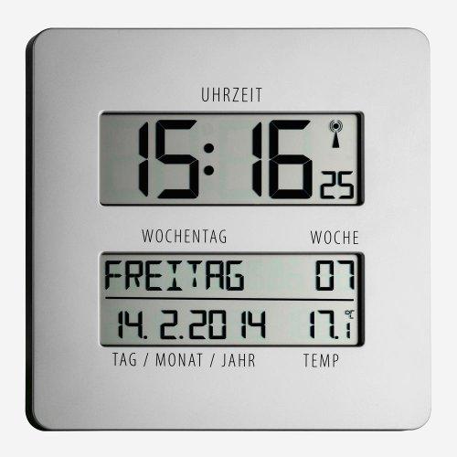 TFA Dostmann 60.4509.54 Timeline Funk-Wanduhr mit Temperaturanzeige, silber