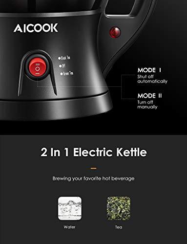 AICOOK Theiere Electriques, Bouilloire Electriques et Théière 2 en 1 avec Infuseur à thé Inox Amovible, Fonction D'isolation et Système de Protection Contre L'ébullition à Sec, Sans BPA, 750W