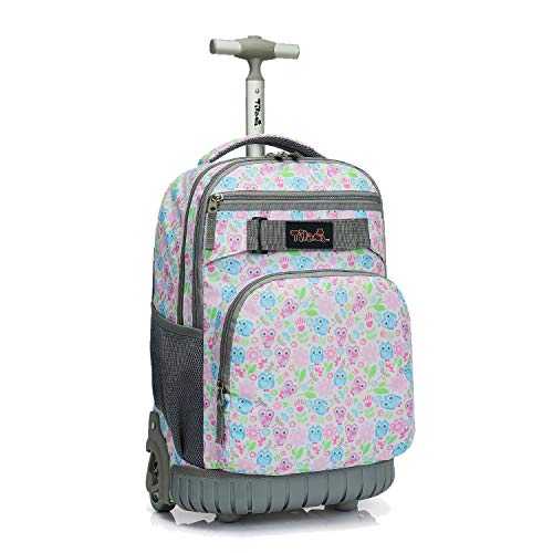 Tilami Rolling Backpack 18 inch Wheeled Laptop Backpack School College Student Travel Trip Boys and Girls, Owl