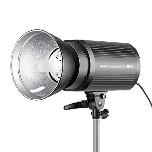 Neewer S300N Monoluce Strobo Flash Professionale da Studio 300W 5600K Lampadina di Modelizzazione, in Lega di Alluminio, per Indoor Fotografia di Modelli & Ritratti