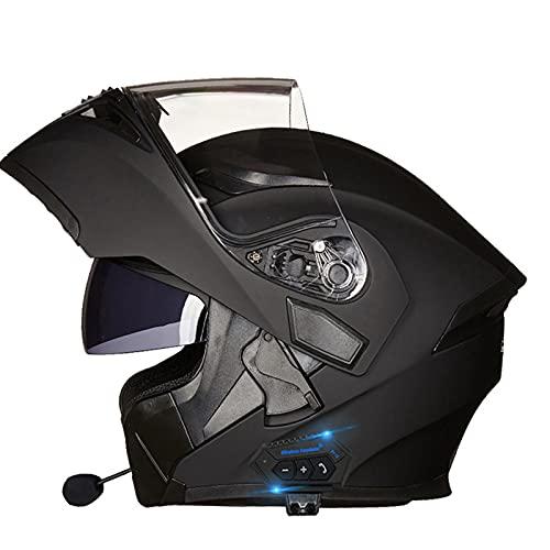 WEDSFC Bluetooth Integrado Modular Casco Moto Integral,con Doble Visera,Personalidad Fresca Casco,para Montar Al Aire Libre Apto para Cruceros Locomotora,Dot/ECE Certificado,G,L=59~60cm