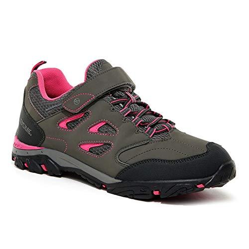 Regatta Chaussures Techniques de Marche Junior Basses Holcombe V, Walking Shoe, Steel/Tulip, 35 EU