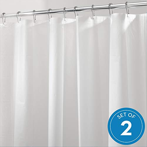 iDesign PEVA Plastic Shower Curtain Liner, Mold and Mildew Resistant Plastic Shower Curtain for use Alone or With Fabric Curtain, 72 x 72 Inches, Set of 2, White