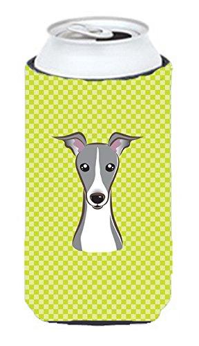 Checkerboard Citron vert italien lévrier Tall Boy Koozie Hugger Bb1298tbc