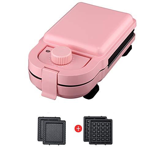 Qazwsxedc wafelijzer, contactgrill, 245 × 135 × 95 mm, temperatuurschakelaar, rood/roze/wit optioneel, 2 sets bakplaat, roze