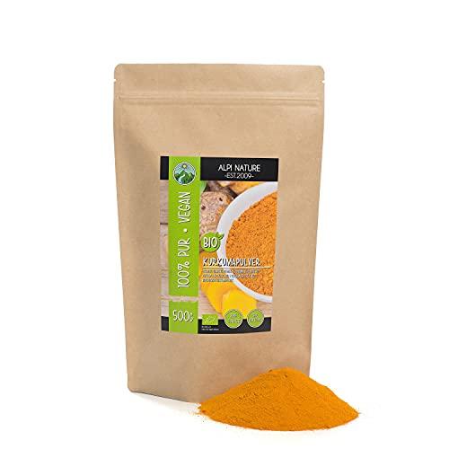 Curcuma biologica in polvere (500g) con almeno il 2,5% di curcumina, curcuma in polvere da coltivazione biologica controllata, senza glutine, senza lattosio, testata in laboratorio, vegana