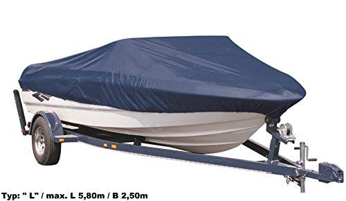EXCOLO Winterschutz für Motorboot Persenning Plane Abdeckung Größe L/max. L 5,80m / B 2,50m f. Außenboard blau