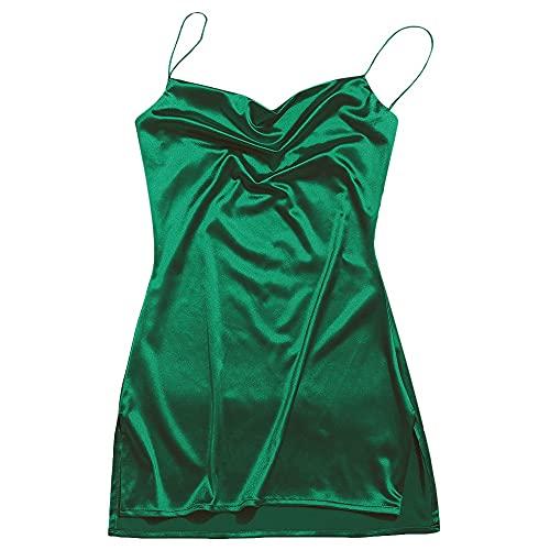ZAFUL Women's Sexy Mini Party Club Dress Spaghetti Strap V Neck Slip Short Dress (M, Green-D)