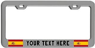 Spain Country Flags Custom License Plate Frame Tag Holder Chrome