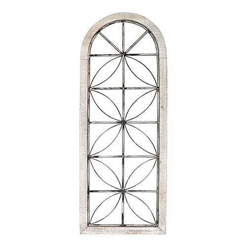Stratton Home Décor Stratton Home Decor White Metal and Wood Window Distressed Panel, 16.65 X 0.98 X 43.00