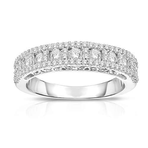 NATALIA DRAKE Triple Row 3/4 Cttw Diamond Wedding Band Ring for Women in Rhodium Plated Sterling...