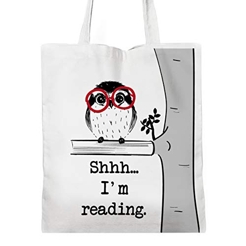 Funny Book Lover Quotes Tote Bag, Book Lover Gifts, Bibliophile Gifts, Book Worm Gift, Bookish, Reading Tote Bag (shhh.)
