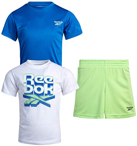 Reebok Baby Boys' Shorts Set – 3 Piece Short Sleeve T-Shirt and Shorts Playwear Set (Infant/Toddler), Size 24 Months, White/Blue/Green