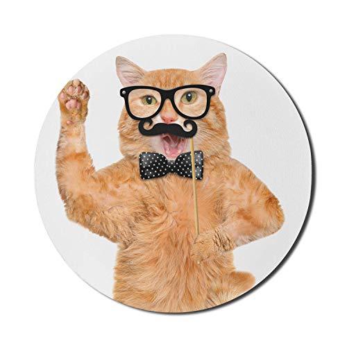 Runde Mausmatte, Kindermaus-Pad für Computer, Hipster-Katze mit Brille Schnurrbart und Fliege Humorvoller lustiger Kitty-Tierdruck, rundes rutschfestes Gummi-Mousepad mit moderner Basis, Aprikosenschw
