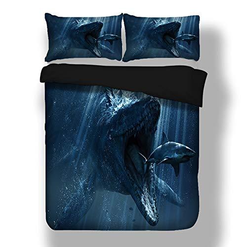 LULU Bedding Set Duvet Cover Set 3D Printed Prehistoric Dinosaur Pattern 3 Piece Pillowcases Fiber Quilt Cover (Color : B, Size : King(220 * 240cm))