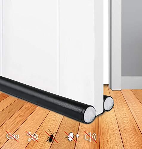JTENG 2 Stück Zugluftstopper für Türen - Schwarz 90 cm Zuschneidbar & passend für jede Tür Schalldicht und warm,Stoppen Sie Gerüche und Insekten, tür zugluftstopper-Türdichtung mit 2-Seiten-Schutz