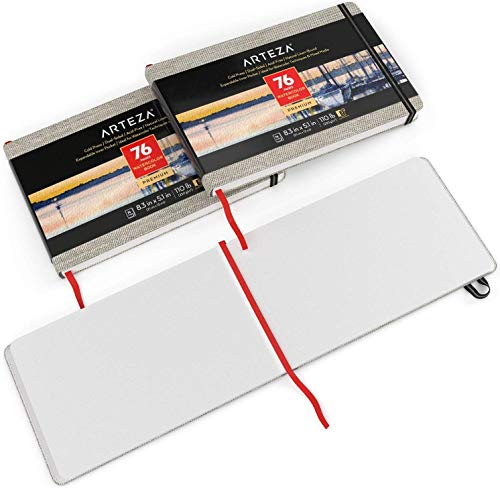 ARTEZA 5.1x8.3' Watercolor Book, Pack of 2, 76 Pages per Pad, 110lb/230gsm, Cold Pressed Paper, Linen Bound with Bookmark Ribbon and Elastic Strap, for Watercolor Techniques and Mixed Media