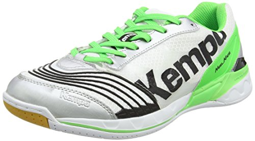 Kempa Unisex-Erwachsene Attack Two Handballschuhe, Mehrfarbig (weiß/Fluo grün/schwarz), 42.5 EU