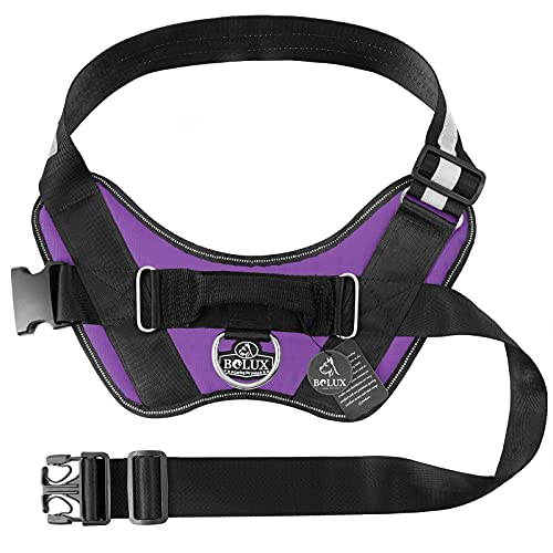 Bolux Over Head Dog Harness, Easy On and Off Pet Vest Harness, Reflective Breathable and Easy Adjust Pet Halters with Nylon Handle for Small Medium Large Dogs, Purple, M