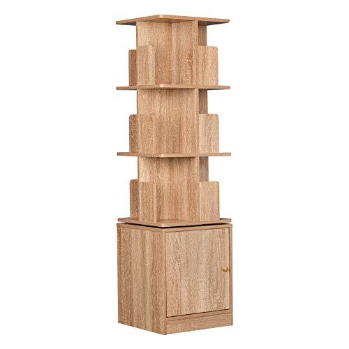 EUGAD 0015SHG Bücherregal Drehregal Standregal Bücherschrank Raumteiler Büroregal Dekoregal 3 Ebene Aufbewahrungsregal mit Schank aus MDF, Helle Eiche