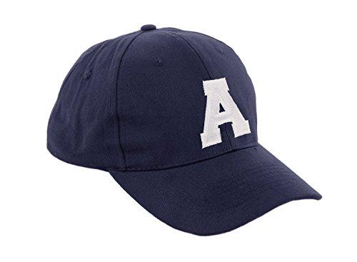 Gorra de béisbol infantil, diseño con letras A-Z, unisex, color azul marino multicolor a Regular