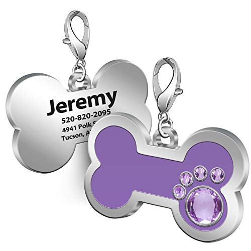 TedYoho Personalized Engraved Stainless Steel Pet ID Silent Tag,Bone and Paw Shape Dog Tags & Cat Tags with Crystals (Purple, Bone Shape)