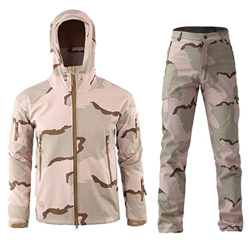 SR-Keistog Conjuntos de Chaqueta táctica de Uniforme Militar para Hombre Chaquetas con Capucha de Camuflaje de Carcasa Blanda más Pantalones de Lana