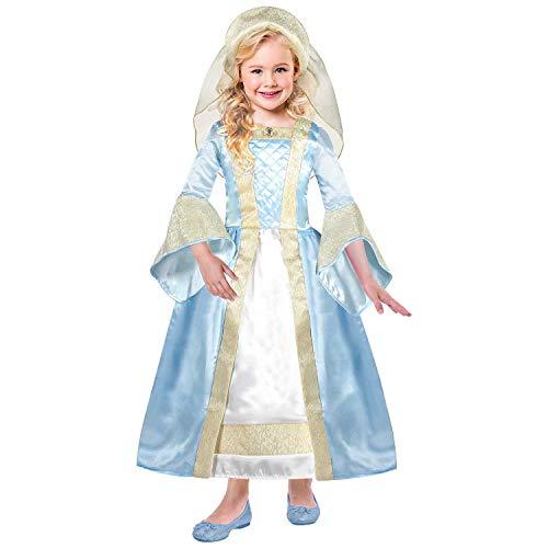 amscan- Costume de Princesse Tudor 6–8 Ans – 2 pièces, TUG6, Bleu pâle/doré, 6-8